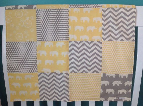 Elephant Baby Quilt Gray Yellow 100 Organic All by EcoEarthKids