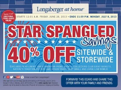 Longaberger at home sale! Save 40% on select products now through July 8th!