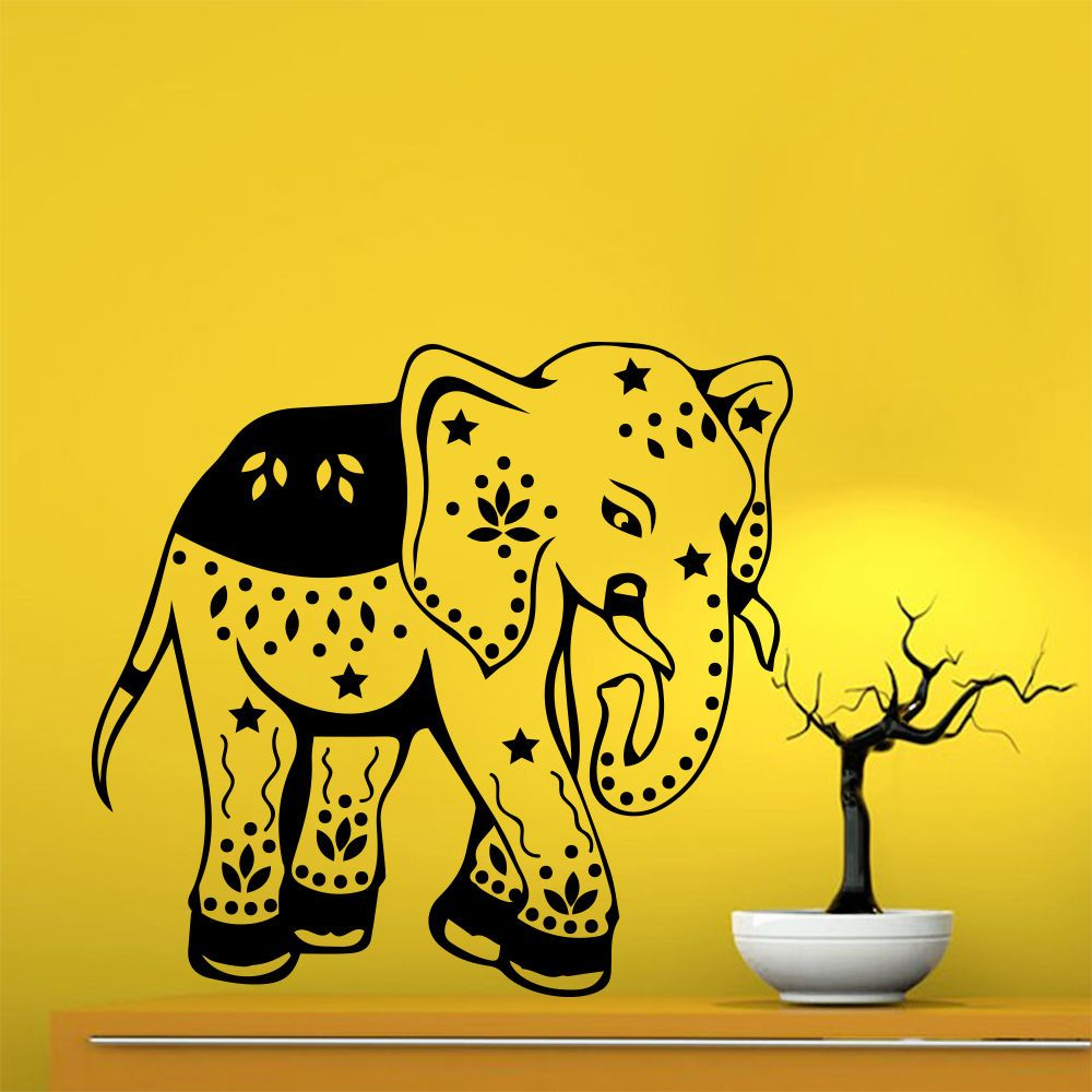 Wall Decals Indian Elephant Flower Patterns Tribal Gym Home Vinyl ...