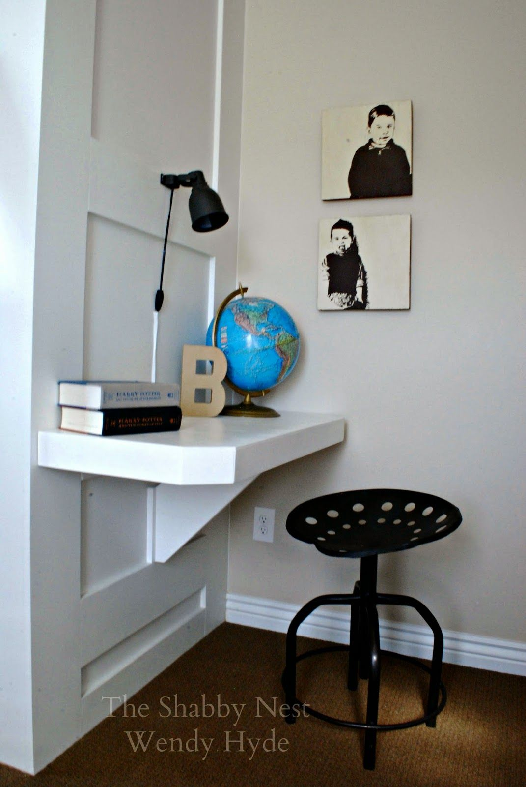 Loft bed with desk and chair  The Shabby Nest Clever SpaceSaving Desk in My Little Boysu Room