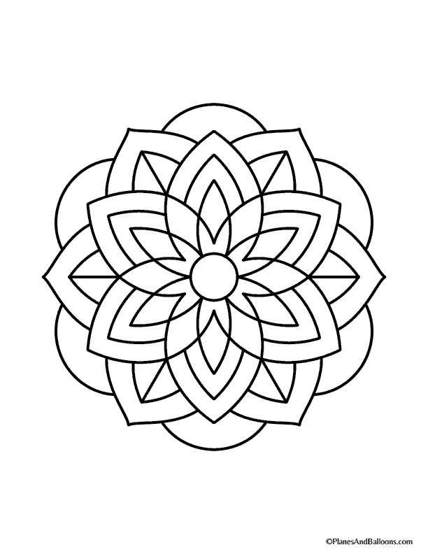 Simple Mandala Mandala Coloring Easy Coloring Pages Mandala