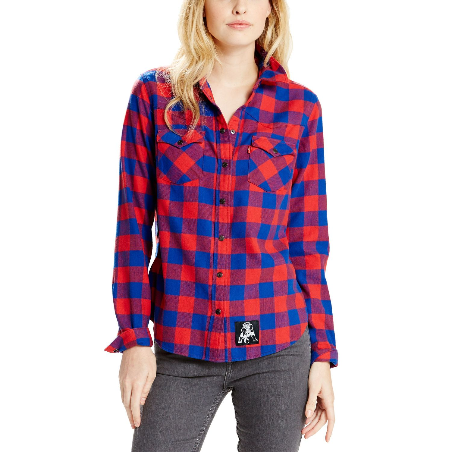 9cfa2801 Levi's New England Patriots Women's Navy Barstow Western Long Sleeve  Button-Up Shirt