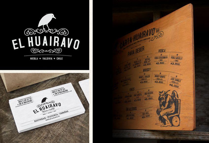 Diseño de marca y carta menú. RestoBar EL HUAIRAVO. Valdivia / Niebla. 2012