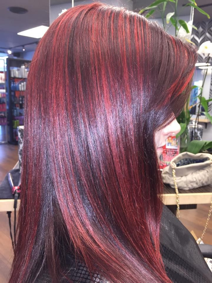 Cherry Cola Red Hair With Red Rocket Highlights Iamgoldwell