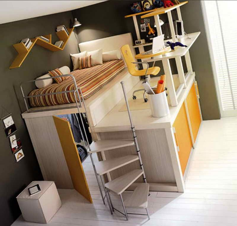 suitable queen size loft bed frame with nice design for dormitory and boarding house appealing