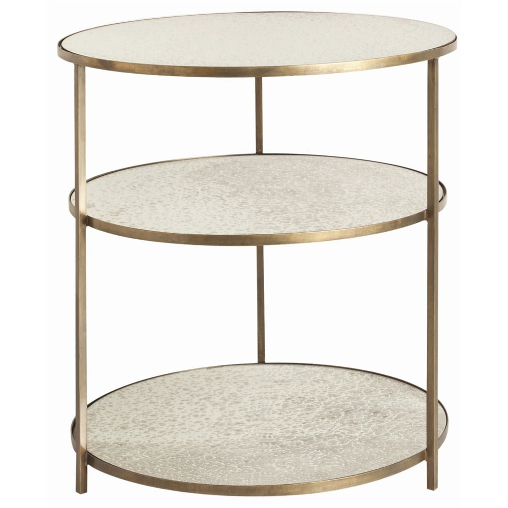 6553 Percy Side Table H 30 Dia 28 Round 3 Tiered Iron Side Table In An Antique Brass Finish With Inl Mirrored Side Tables Brass Side Table Table Furniture