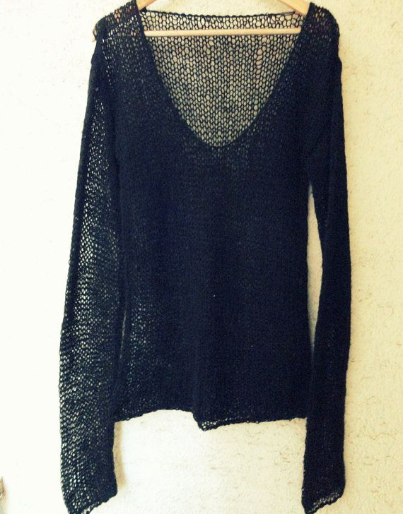 Sheer Knit Sweater, Black V Neck Jumper, See through Knit Mohair Top ...