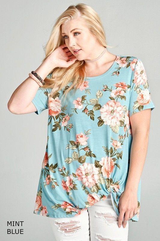 0bb330a3f22 ODDI Floral Print short sleeve Knot top tee side twist plus XL 1X 2X  oddi   KnitTop  casual