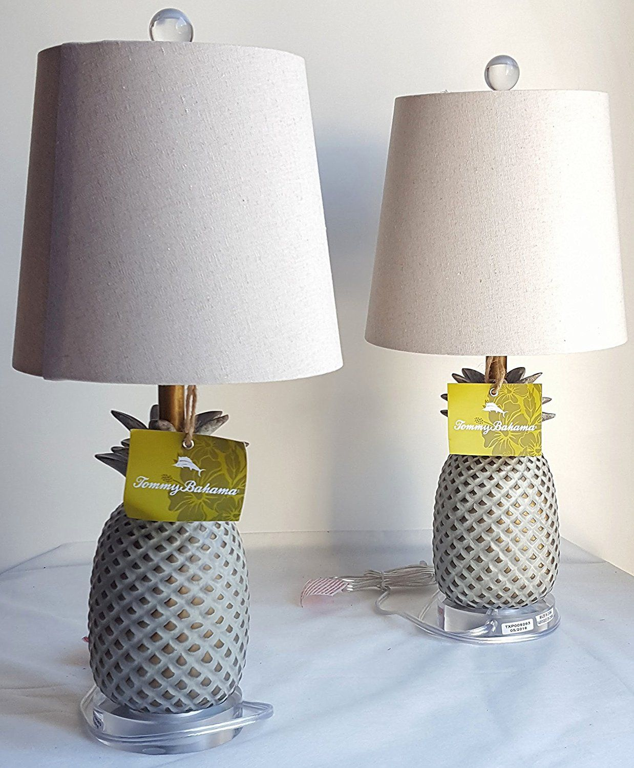 Pair Of Two 2 Tommy Bahama 20 Pinele Table Lamps With