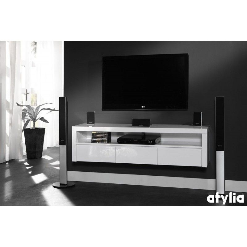 Meuble tv design suspendu beatriz atylia deco for Petit meuble tv suspendu