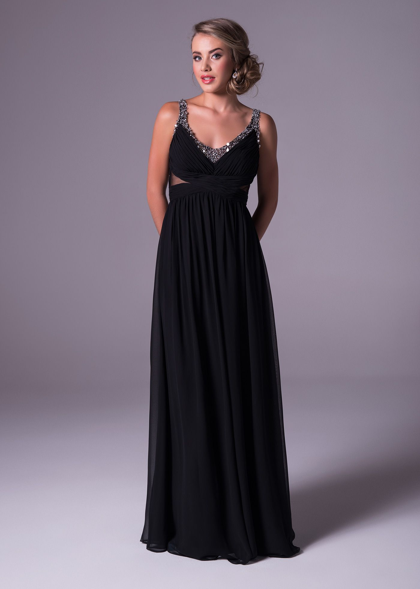 Navy blue dress for spring wedding  This black chiffon gown is soft and slim and show off with itus