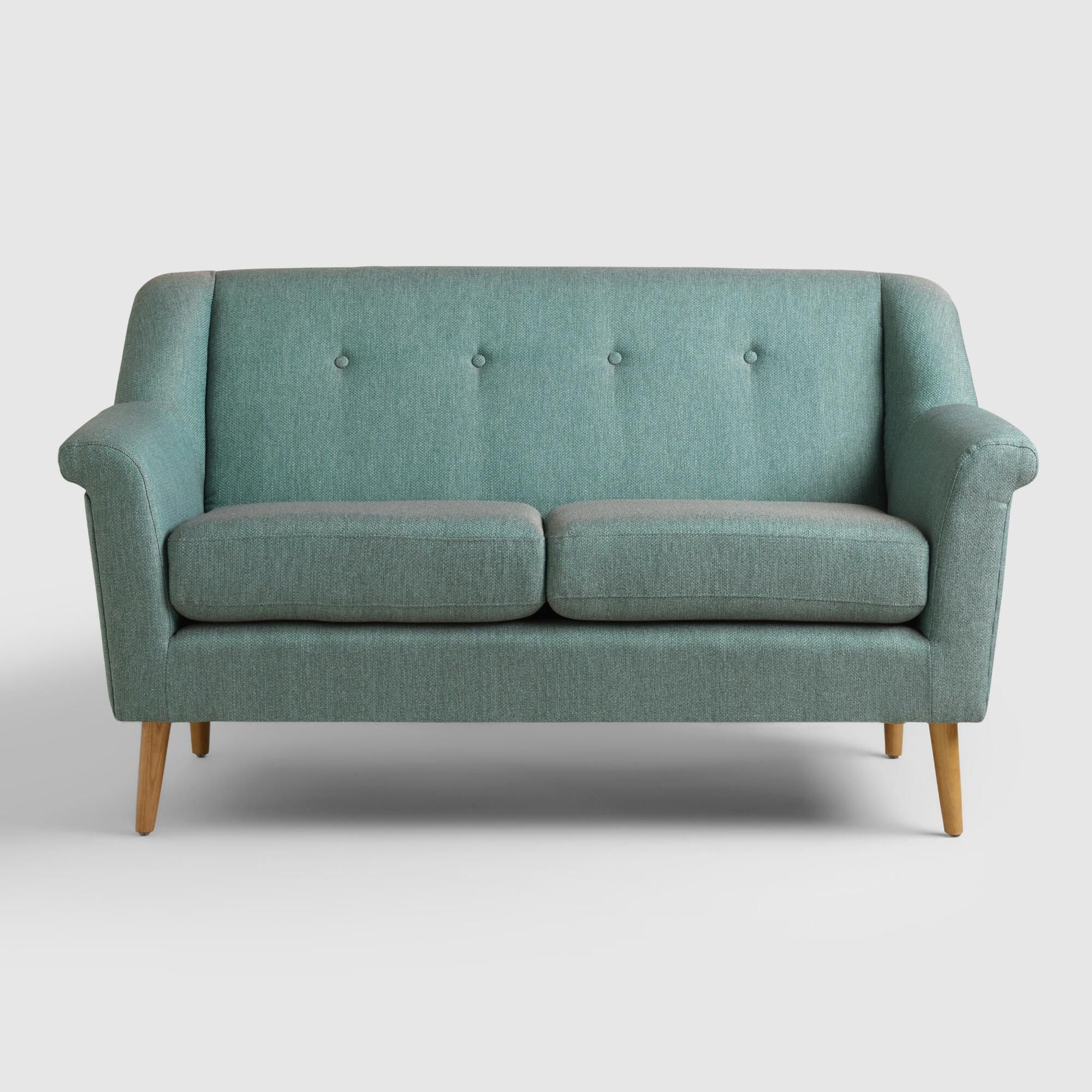 teal kaira love seat teal fabric mid century style and seat cushions rh za pinterest com