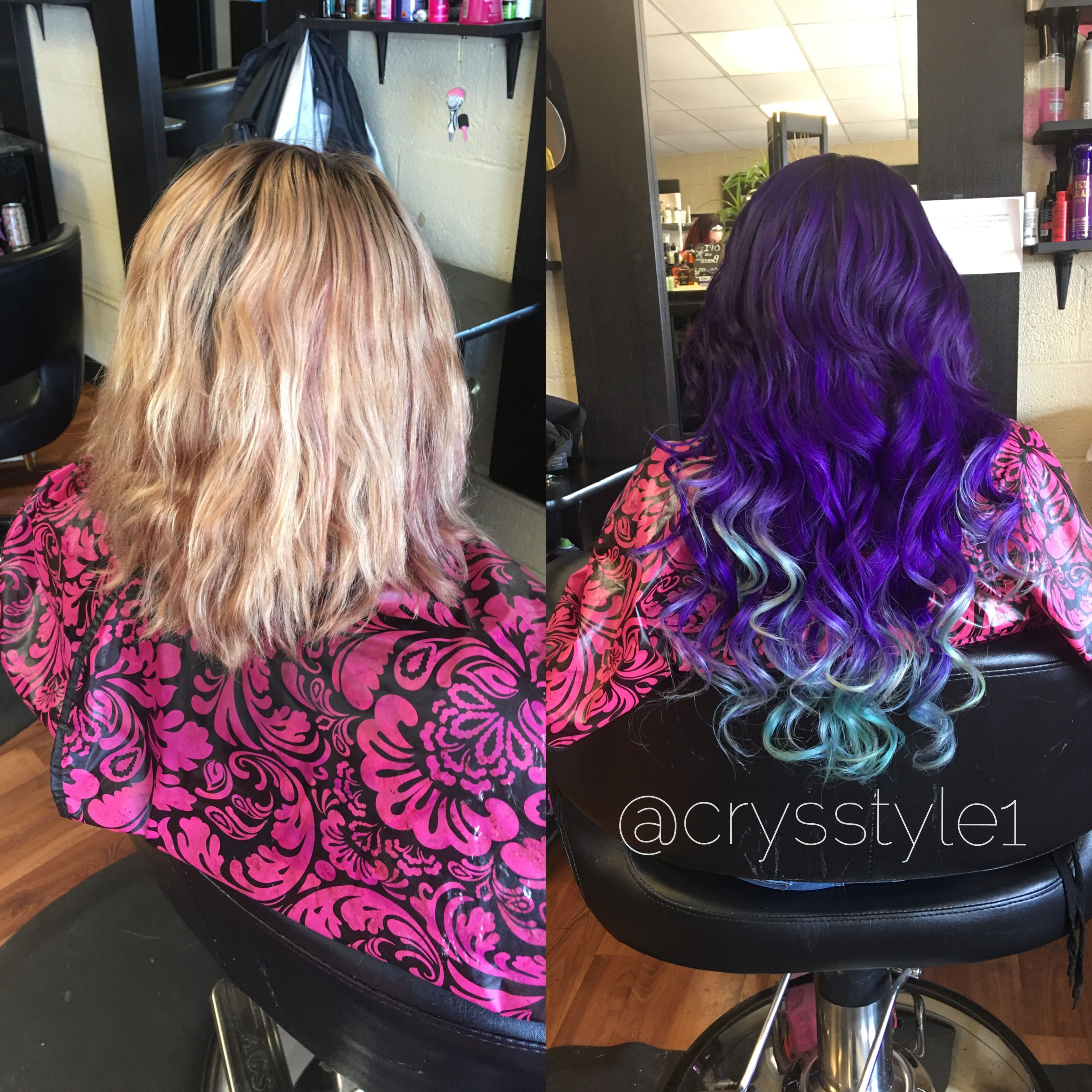Purple To Mint Ombr Hair Extensions Hair By Crystal Hodges