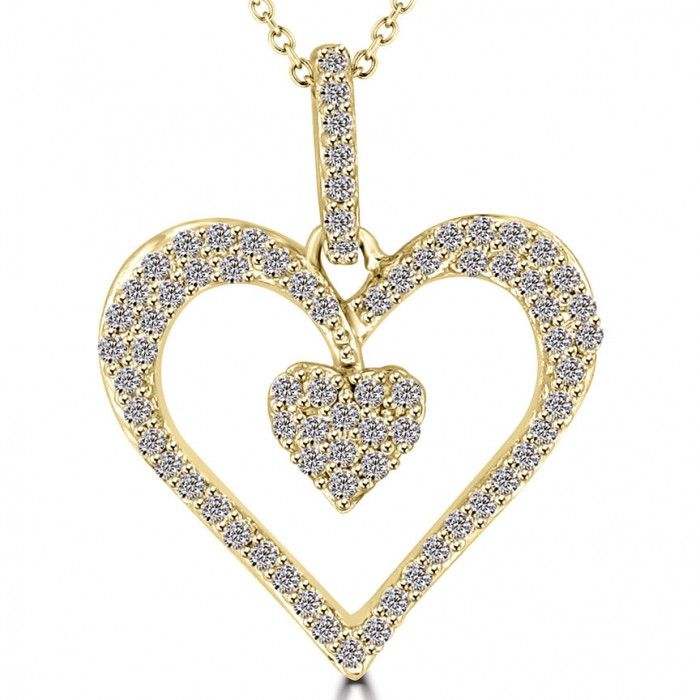 fe976774ba02 0.30 Carat F-SI Diamond Double Heart Pendant Necklace in 14k Yellow Gold -  Heart Pendants - Pendants