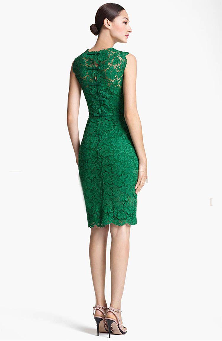 35015345d1 Green Lace Hollow Out Sleeveless Celebrity Pencil Hem Dress