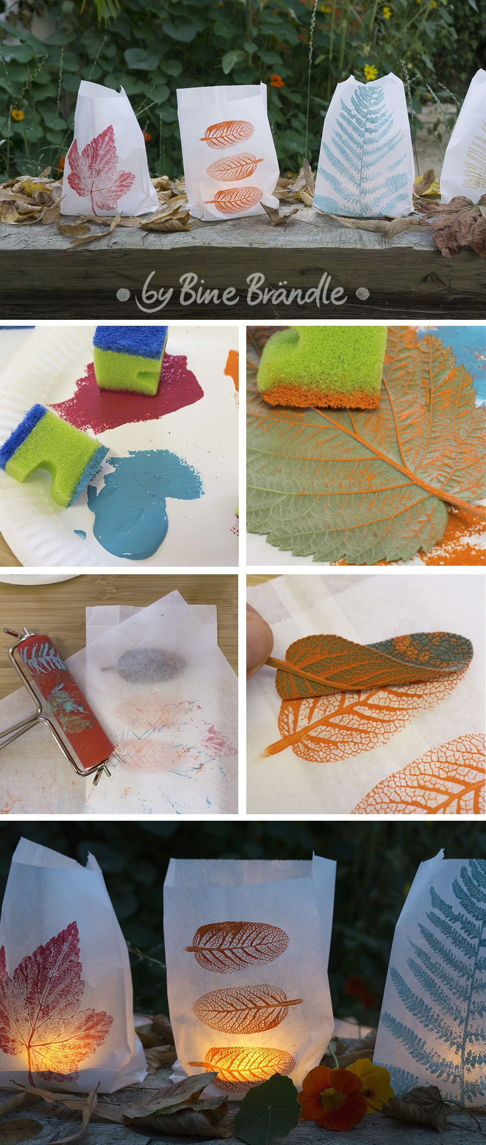 Windlichter selber basteln aus Papiertüten und gesammelten Blätter mit schönen Herbstmotiven und tollen bunten Farben. Eine super Bastelidee für Kinder und eine wunderschöne Dekoration. Idee und Foto aus Bine Brändles Büchern #kastanienbastelnkinder