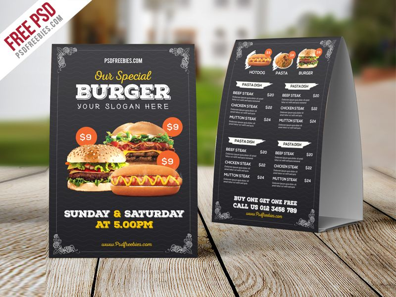 Download Fast Food Menu Table Tent Template Free PSD. This Fast Food Menu  Table Tent  Free Food Menu Template
