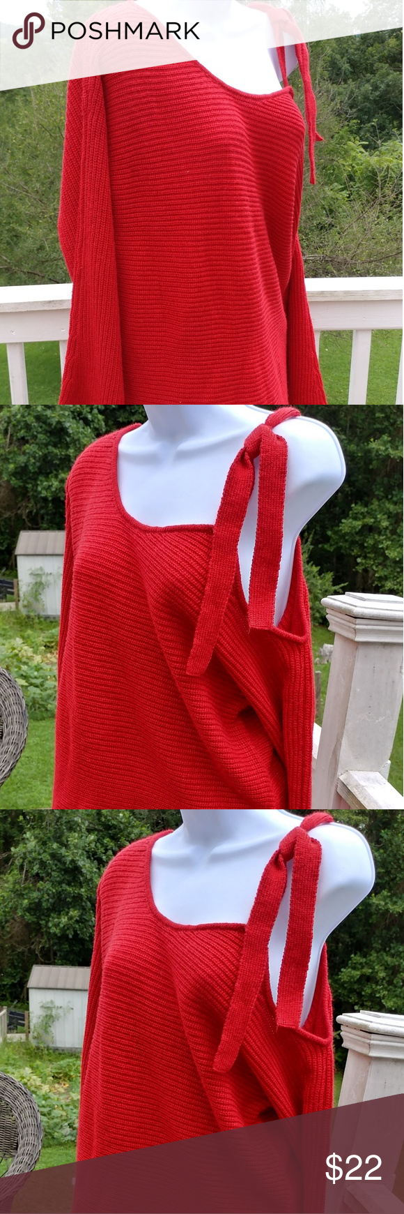 ELLE Pretty Red One Sided Cold Shoulder Sweater- NWT