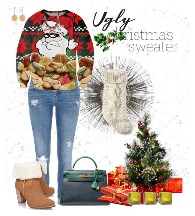 """ugly sweater"" by erin-ciolli on Polyvore featuring Crate and Barrel, L.L.Bean, River Island, Hermès, STELLA McCARTNEY, UGG Australia and Cultural Intrigue"