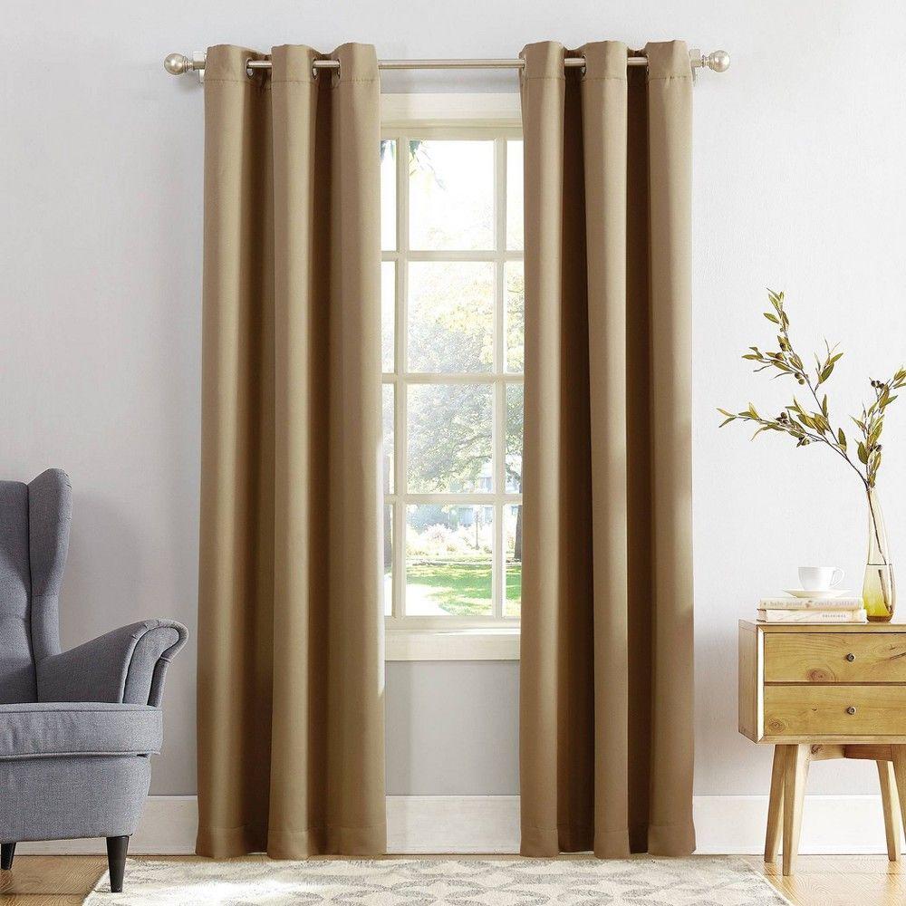 40 X95 Kenneth Blackout Energy Efficient Grommet Curtain Panel Taupe Sun Zero Grommet Curtains Panel Curtains Grommet Top Curtains