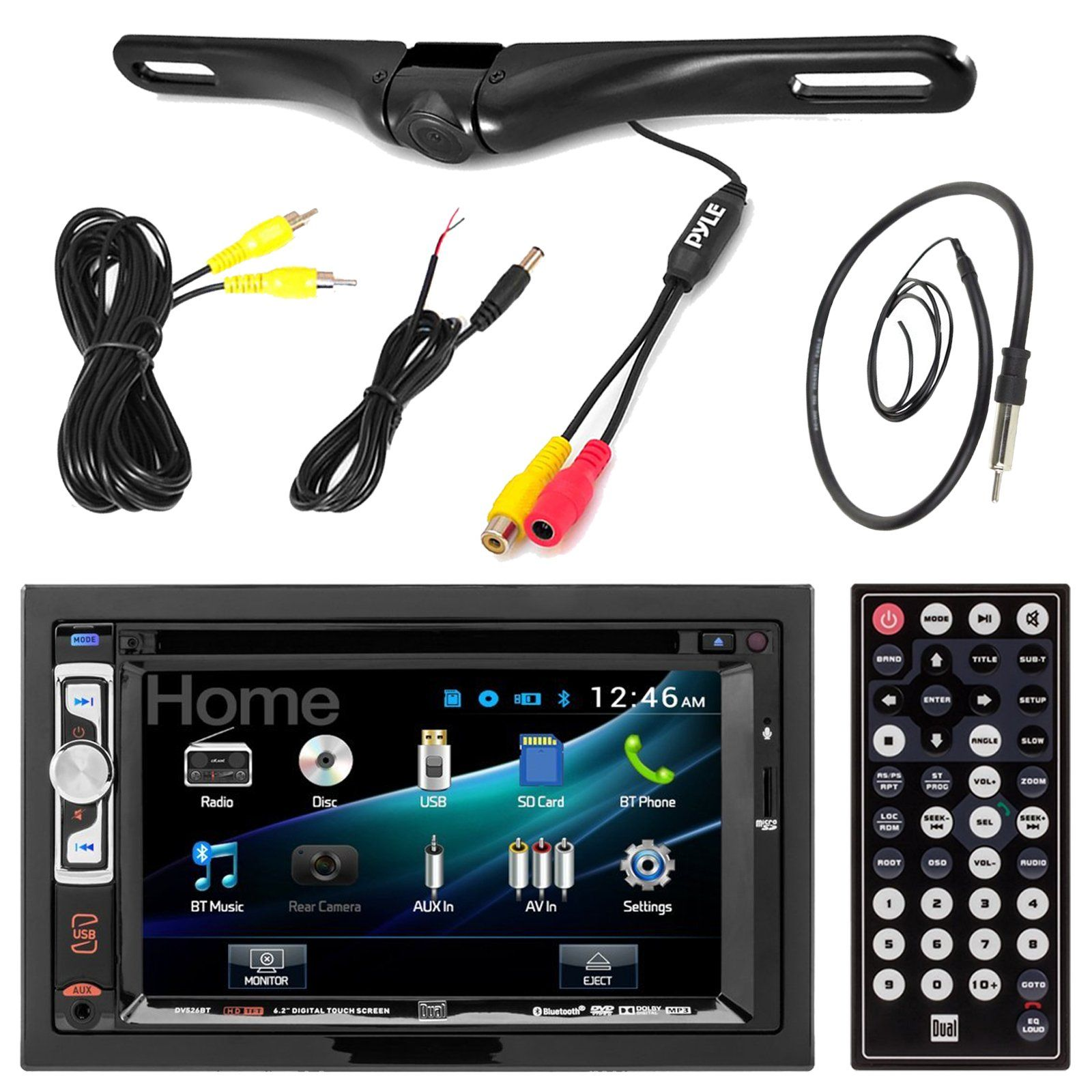 Of the line double din touch screen car stereos from pioneer and sony - Dual Dv526bt 6 2 Inch Touchscreen Double Din Cd Dvd Player Car Stereo Receiver Bundle