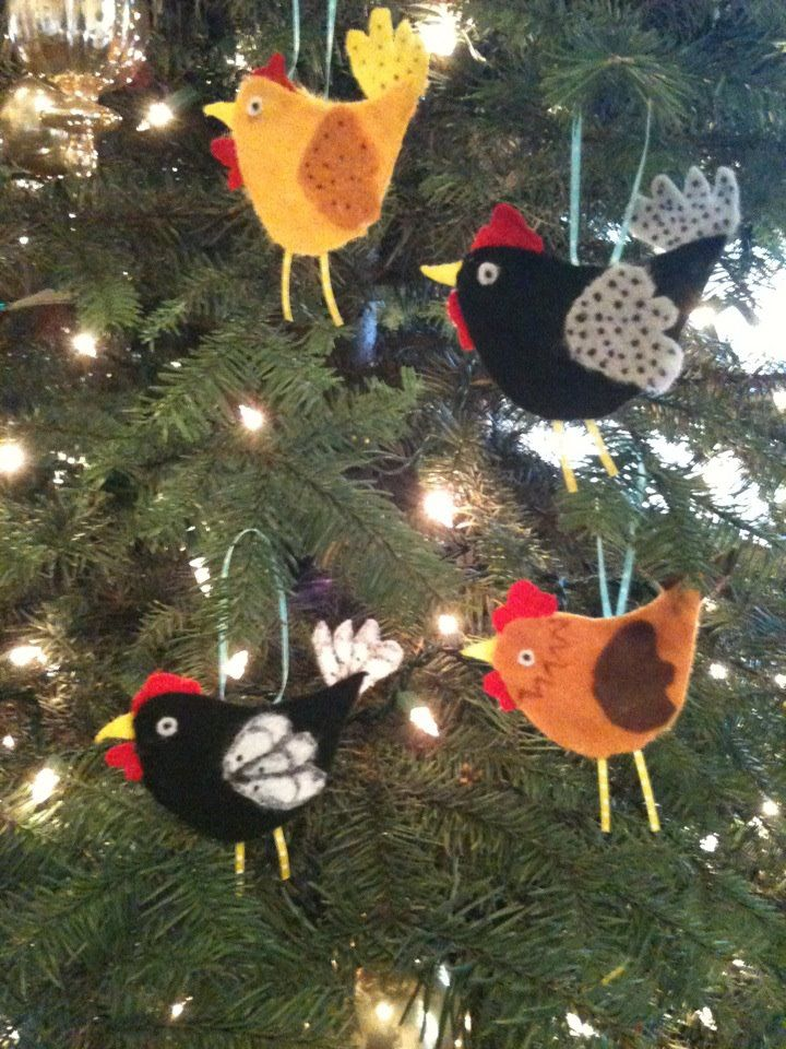 Felt Chicken Christmas Ornaments. - Felt Chicken Christmas Ornaments. Backyard Chickens Pinterest