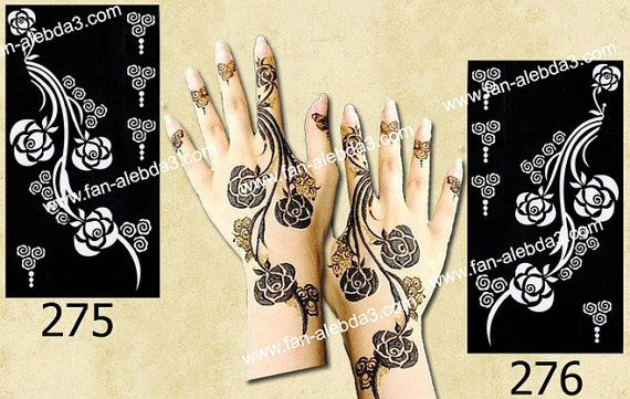 Henna Mehndi Stickers : Arabic design henna stencil stickers by indoarabfashions