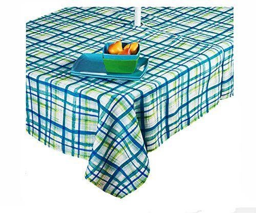 Exceptionnel Benson Mills Teal Green And White Watercolor Plaid Zippered Umbrella  Tablecloth (60 X 84 Rectangle Umbrella)