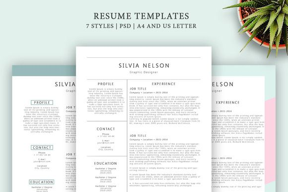 Resume Templates 7 Styles by Blossom on @creativemarket Awesome