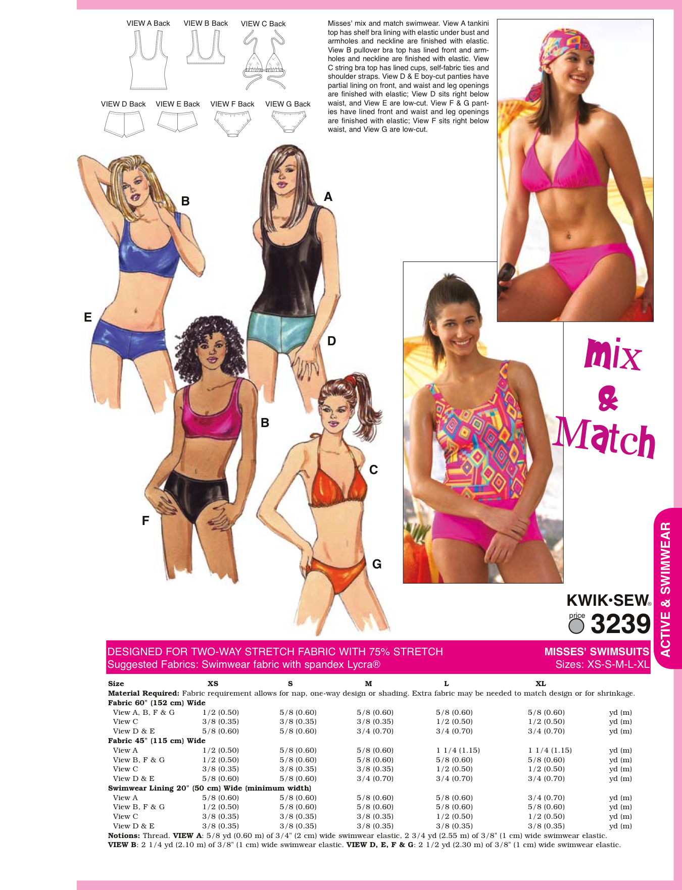 K3239 Misses\' Swimsuit | Patterns & Materials for Only Void ...