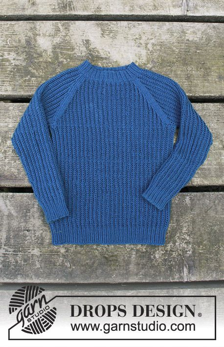 7a287726 Perkins / DROPS Children 30-9 - Knitted jumper with false English rib and  raglan for kids. Size 2 - 12 years Piece is knitted in DROPS BabyMerino.