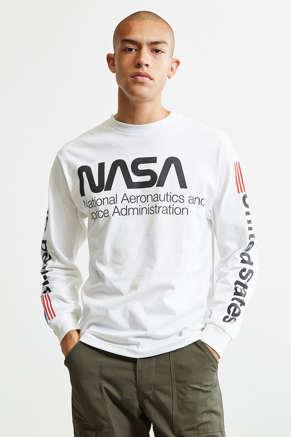 Urban Outfitters Nasa Worm Logo Long Sleeve Tee M Nasa