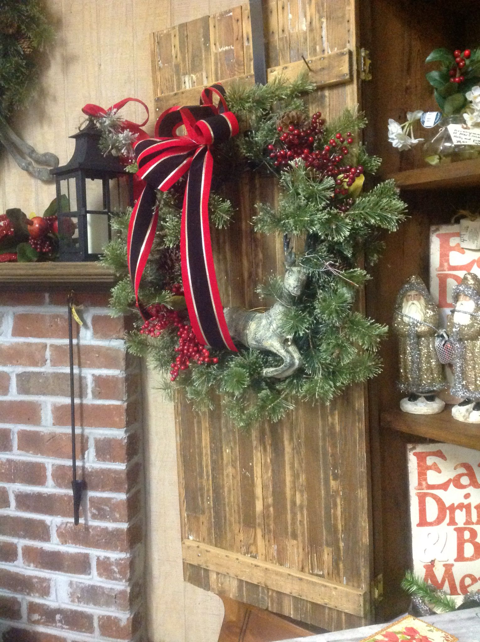 love the deer wreath on an old cupboard door in our christmas rh pinterest ca