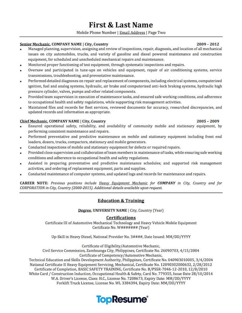 Successful Low Time Airline Pilot Resume (With images