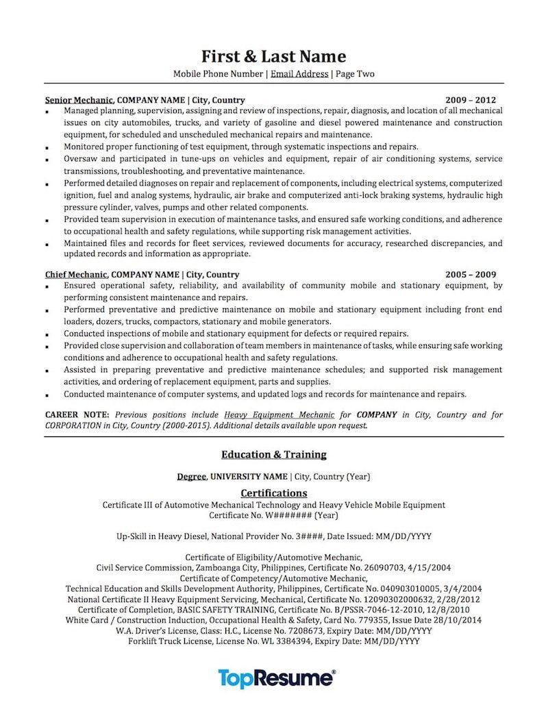Top Resume Builder Mechanic Resume Sample  Resume Builder  Pinterest  Resume .