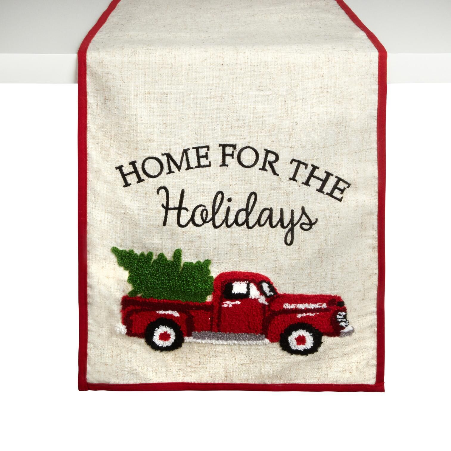Home For The Holidays Red Truck Table Runner Holidays Home Table Christmas Tree Shop Tree Shop Red Truck