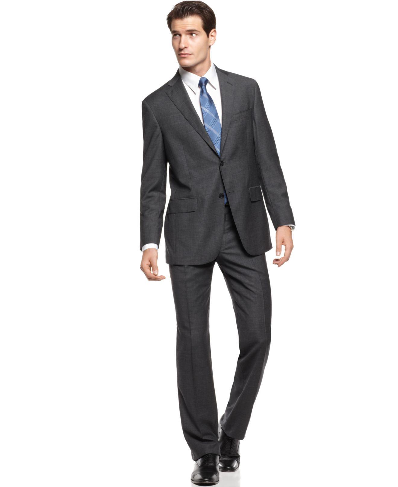 Hart Shaffner & Marx Suit, Charcoal Mini Check Modern Fit - Mens ...