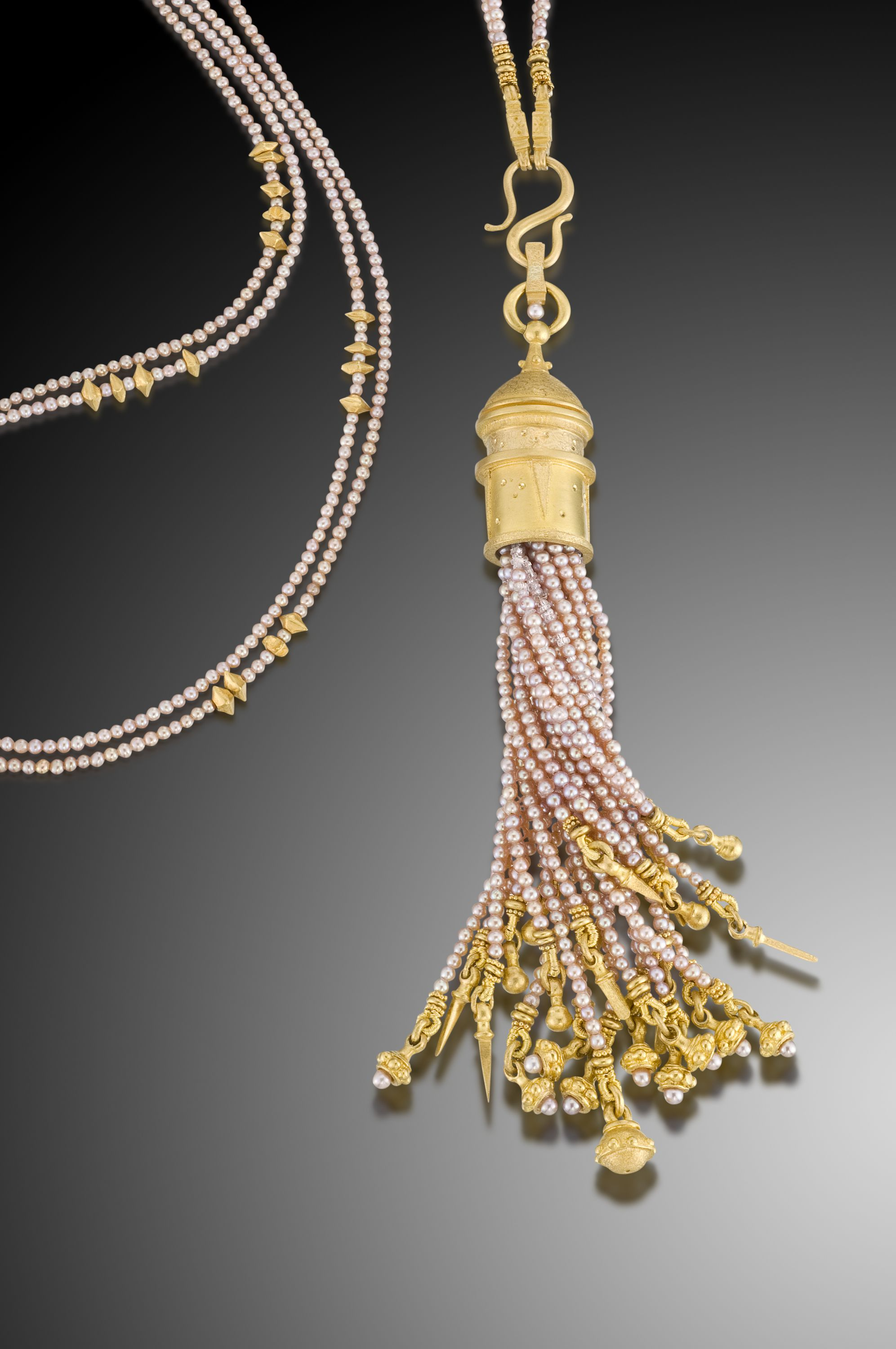 Pearl and gold necklace with a pearl and gold tassel pendant by