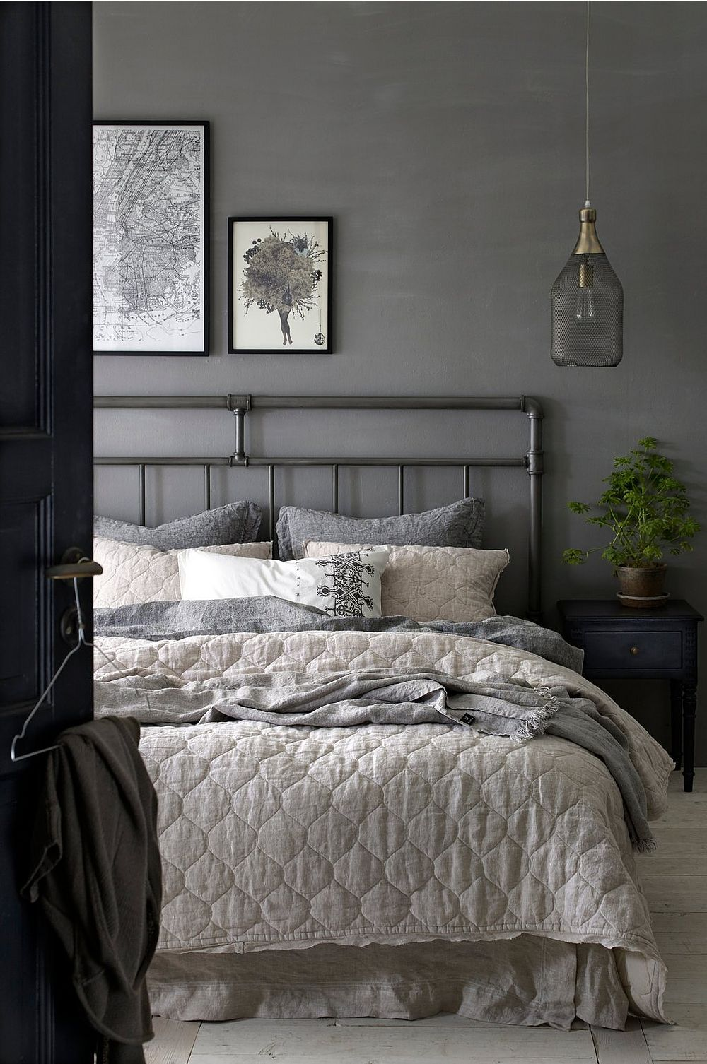 Dark grey bedroom walls Dark grey bedroom
