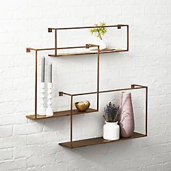 antiqued brass floating shelves set of 3 home shelves bathroom rh pinterest ca