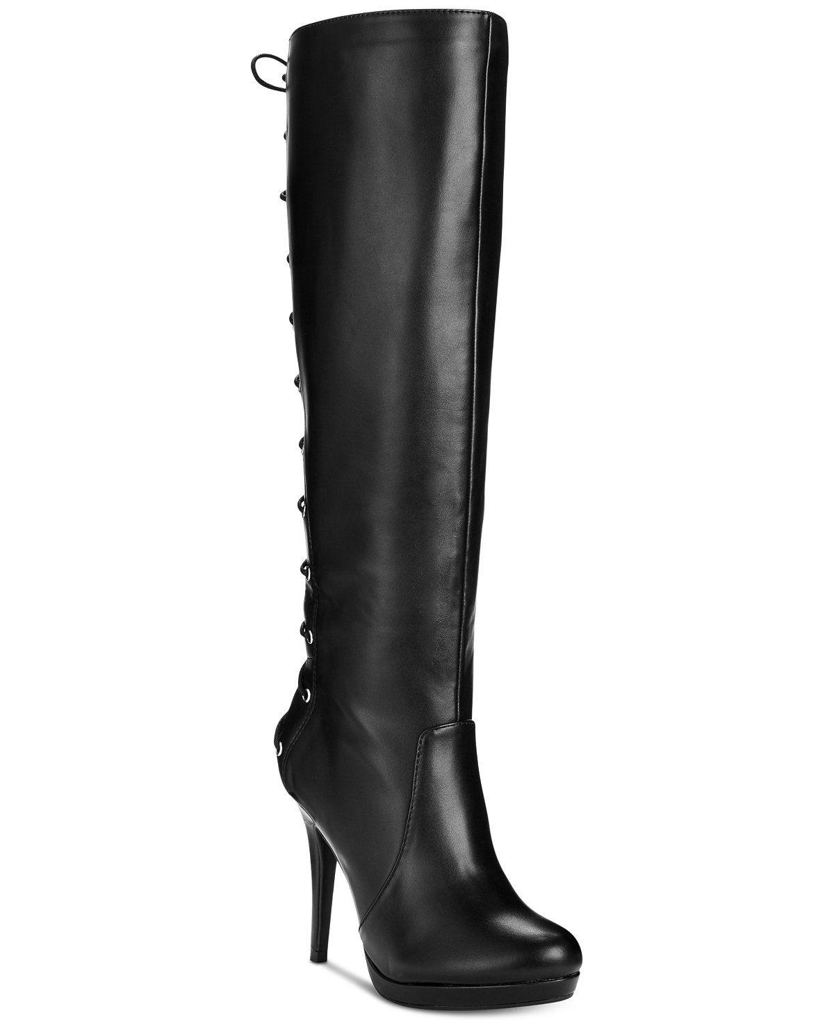 c2e345fdc7b9 Thalia Sodi Lanee Wide-Width Wide-Calf Platform Lace-Up Dress Boots ...