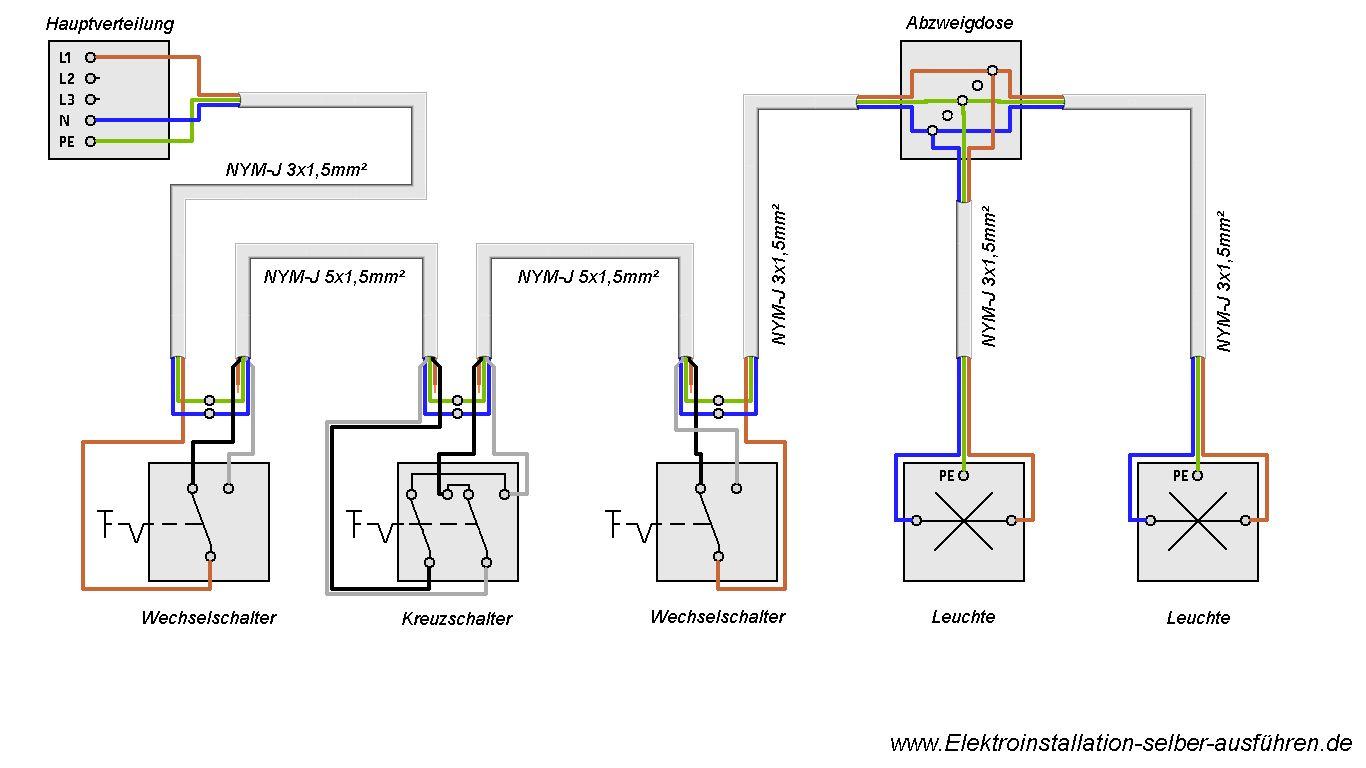 Schaltplan Einer Kreuzschaltung Mit Zwei Lampen Elektroinstallation Haus Elektroinstallation Schaltplan