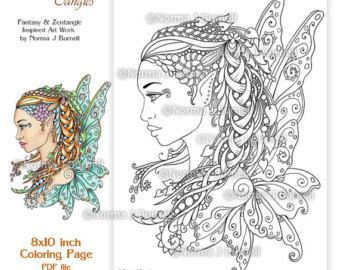 fairy tangles printable coloring pages by norma j burnell - Coloring Pages Beautiful Angels