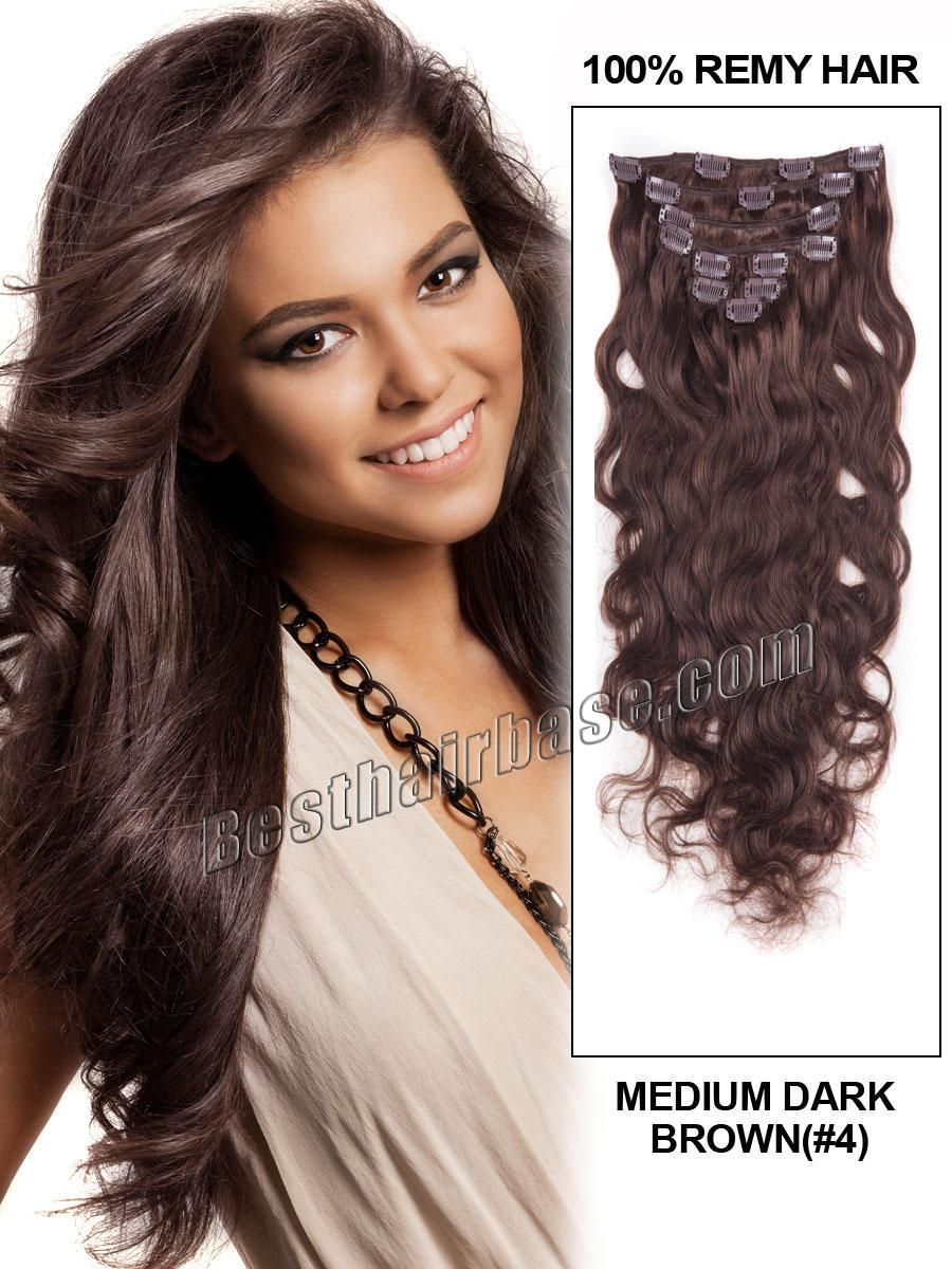 24 Inch Lovely Body Wave Clip In Hair Extensions 4 Medium Brown 7