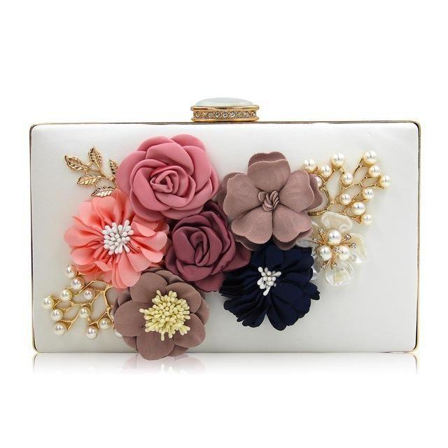Pop Up Flower Square Clutch Floral Clutch Bags Wedding Purse Black Evening Bag