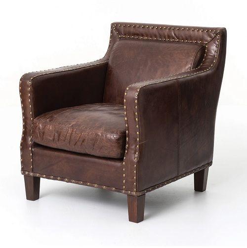 alcott vintage cigar distressed leather club arm chair chair rh pinterest com