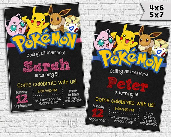 pokemon custom invitations