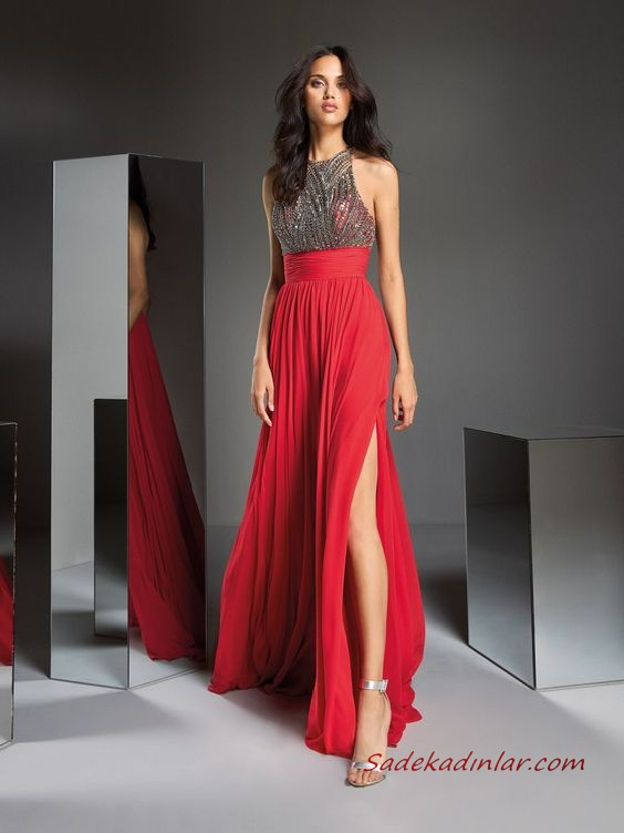 2020 Pronovias Uzun Abiye Elbise Modelleri Kirmizi Uzun Kolsuz Tasli Derin Yirtmacli Elbise Modelleri The Dress Elbise
