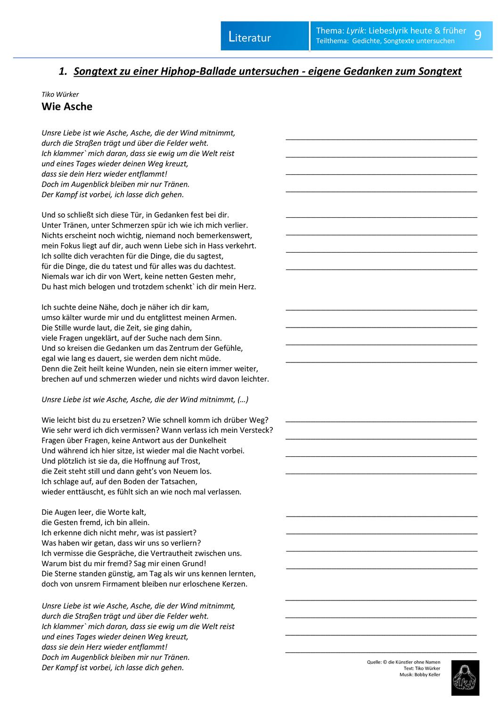 Liebeslyrik Analyse Und Interpretation Eines Liedtextes Mit Song Unterrichtsmaterial In Den Fachern Deutsch Musik In 2020 Liebeslyrik Lyrik Liedtext