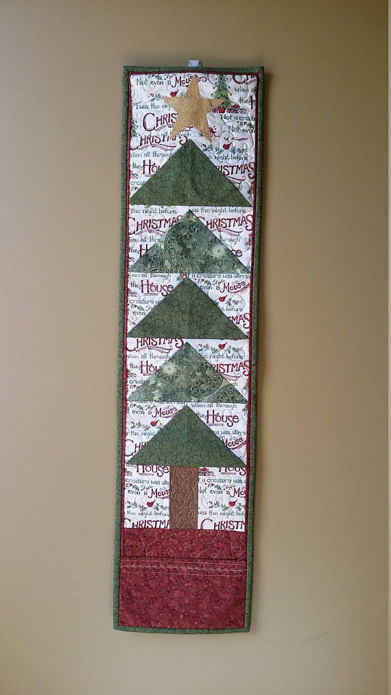Quilted Christmas Tree Wallhanging Card Holder Country Decor Etsy Quilts Quilts Decor Holiday Quilts